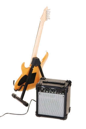 Electric guitar with amplifier, white background Stock Photo - 6927084