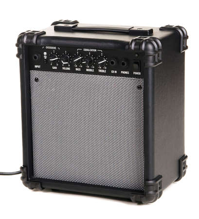 Electric guitar amplifier, white background photo