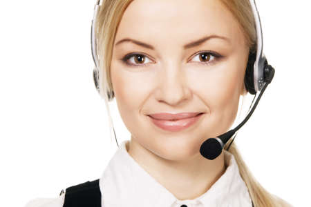 Cheerful professional call center operator, white background Stock Photo - 6936998