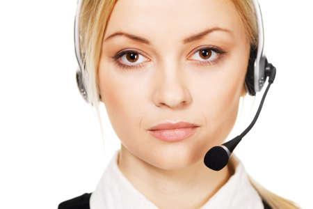 Cheerful professional call center operator, white background Stock Photo - 6942030