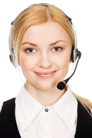 Cheerful professional call center operator, white background photo