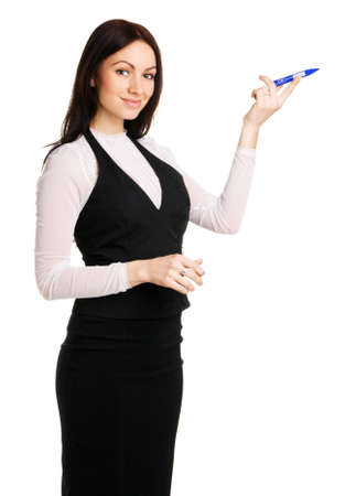 Cute businesswoman pointing aside with a marker, white background Stock Photo - 6941837