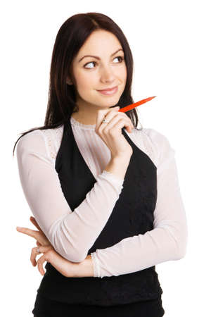 Cute businesswoman pointing aside with a marker, white background Stock Photo - 6941887