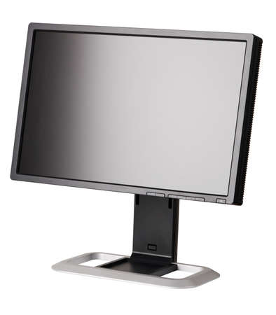 the computer monitor: Modern black computer monitor isolated on white background