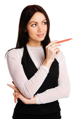 Cute businesswoman pointing aside with a marker, white background Stock Photo - 6942837