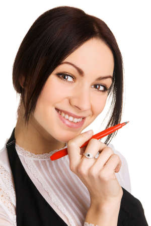 Cute businesswoman pointing aside with a marker, white background Stock Photo - 6942722
