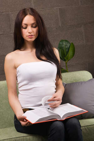 Beautiful brunette reading a book in home interior Stock Photo - 6959657