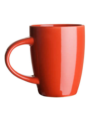 black coffee mug: Red tea cup over white background