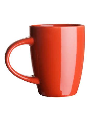 tasse: Tasse de th� rouge sur fond blanc Banque d'images
