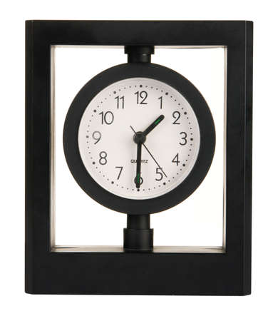 Black modern clock over white background photo
