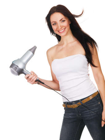 Woman with a hair dryer, white background photo