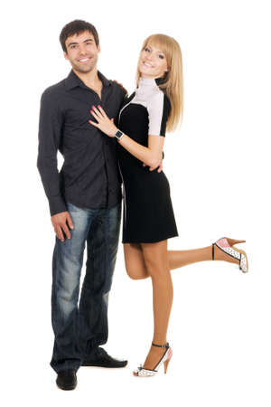 Beautiful young couple in casual clothing, white background Stock Photo - 7092287