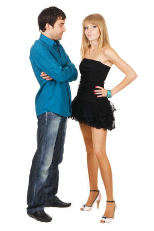 Beautiful young couple in casual clothing, white background Stock Photo - 7092279