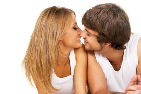 tanned woman: Beautiful young couple in casual clothing Stock Photo