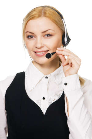 Cheerful professional call center operator, white background Stock Photo - 7247275