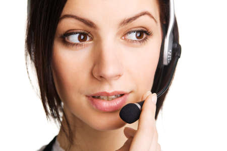 Young beautiful call center operator, white background Stock Photo - 7247273