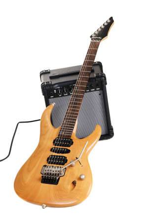 Electric guitar with amplifier, white background Stock Photo - 7247381