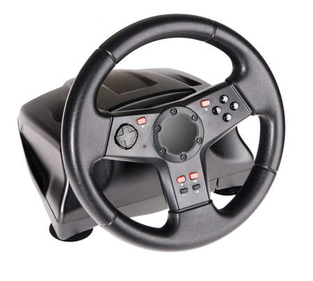 Gaming steering wheel isolated on white background photo