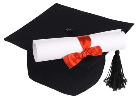 Black graduation cap isolated on white background photo