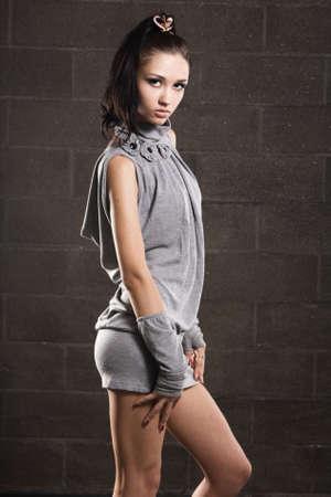 Beautiful slim model studio photo photo
