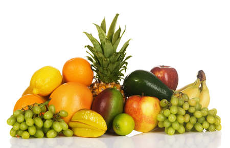 Colorful fresh fruits isolated on white background Stock Photo - 7805261