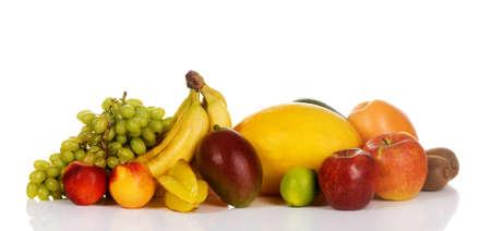 Assortment of fresh fruits isolated on white background  Stock Photo - 7805244