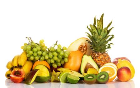 Assortment of fresh fruits isolated on white background  Stock Photo - 7805802