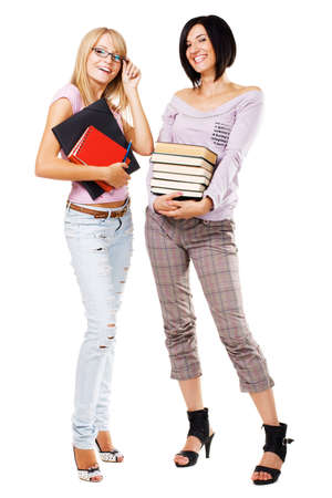 Portrait of two lovely students, isolated on white Stock Photo - 7849878