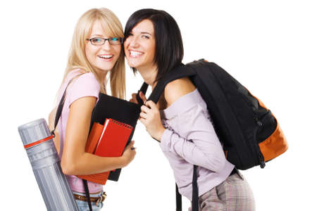 Portrait of two lovely students, isolated on white Stock Photo - 7849887
