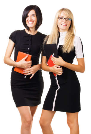 Two elegant businesswomen against white background Stock Photo - 7849883