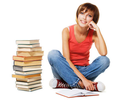 Lovely student with a stack of books, isolated on white Stock Photo - 7849881