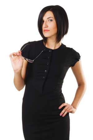 Portrait of an elegant businesswoman against white background photo