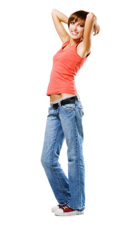 red jeans: Young happy woman, isolated on white background  Stock Photo