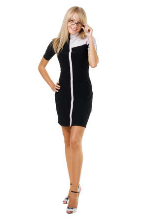 working dress: Cute businesswoman against white background Stock Photo