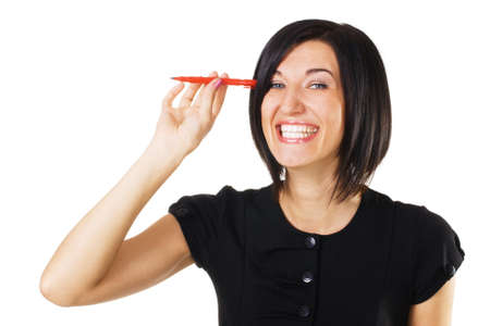 Cheerful  businesswoman with a marker, white background Stock Photo - 7849934