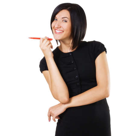 Cheerful  businesswoman with a marker, white background  Stock Photo - 7849937