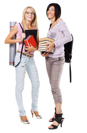 Portrait of two lovely students, isolated on white Stock Photo - 7952319
