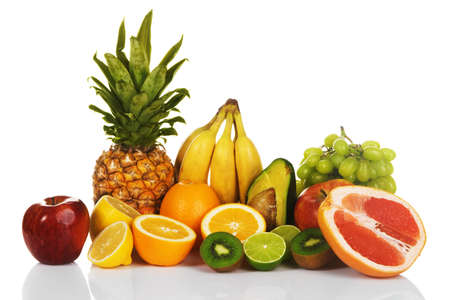 Assortment of exotic fruits, white background photo