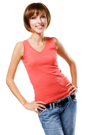 Lovely cheerful girl in casual style clothing on white background Stock Photo - 7952339
