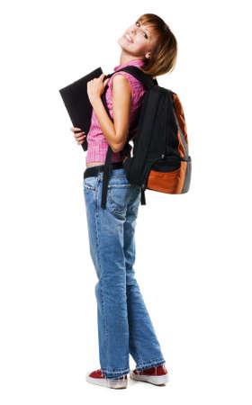 Lovely student girl, isolated on white Stock Photo - 7952321