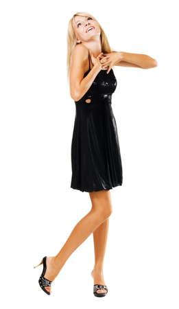 Beautiful amazed woman in black dress, isolated on white  photo