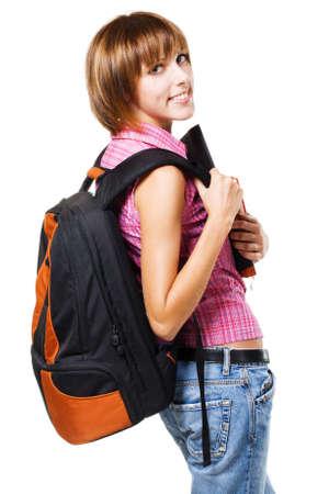 Lovely student girl against white background Stock Photo - 8092041
