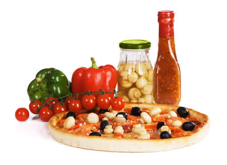 Pizza with sauce, paprika and champignons, isolated on white Stock Photo - 8092053