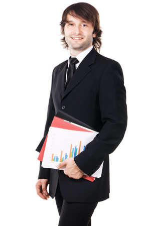 Cheerful businessman with a papers and folders against white background Stock Photo - 8218335