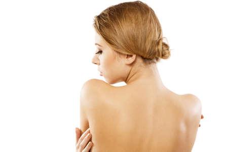 collo: Naturale ritratto di un donna bellissima, bianca sfondo
