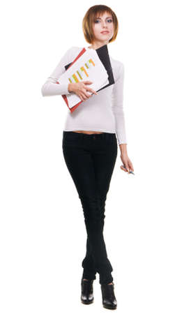 Young woman with folders and business papers, white background  photo