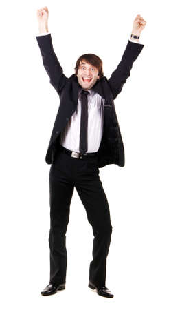 Expressive happy businessman, white background Stock Photo - 8296546