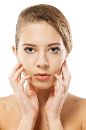 Woman's beautiful face closeup portrait, white background Stock Photo - 8438899