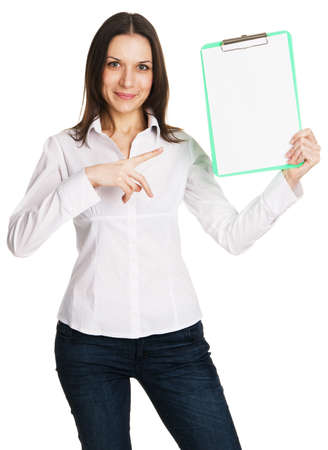 Beautiful young businesswoman with a worksheet, white background Stock Photo - 8438852