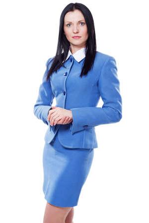 Portrait of beautiful confident businesswoman in blue suit photo